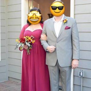 Azazie full length Bridesmaids dress in Mulberry